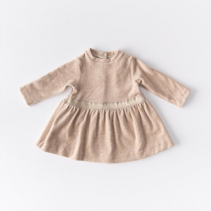 Cream-colored organic cotton chenille dress
