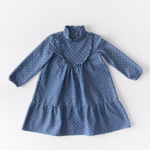 Dress in organic Denim with polka dots