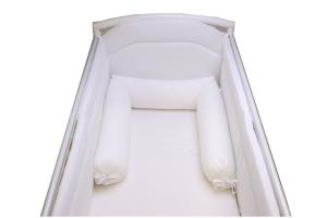 Babysanity - NUOVA COLLEZIONE Riduttore paracolpi cilindro per lettino SFODERABILE cm 190 x 15 cm MISURA XL + lacci colore Bianco