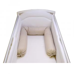 Babysanity - NUOVA COLLEZIONE  Riduttore paracolpi cilindro per lettino SFODERABILE cm 190 x 24 cm MISURA XL + lacci coloreTortora