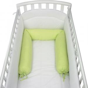 Babysanity - NUOVA COLLEZIONE Riduttore paracolpi cilindro per lettino SFODERABILE cm 190 x 24 cm MISURA XL + lacci colore lettino Verde mela