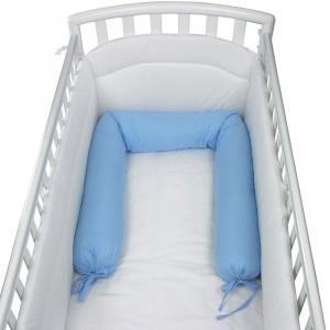 Babysanity NUOVA COLLEZIONE- Riduttore paracolpi cilindro per lettino SFODERABILE cm 190 x 24 cm MISURA XL + lacci colore Azzurro