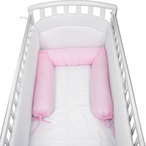 Babysanity - NUOVA COLLEZIONE Riduttore paracolpi cilindro per lettino SFODERABILE cm 190 x 24 cm MISURA XL + lacci colore Rosa