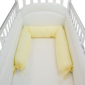Babysanity -NUOVA COLLEZIONE Riduttore paracolpi cilindro per lettino SFODERABILE cm 190 x 24 cm MISURA XL + lacci colore Giallino