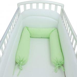 Babysanity - NUOVA COLLEZIONE Riduttore paracolpi cilindro per lettino SFODERABILE cm 190 x 24 cm MISURA XL + lacci colore verde melange