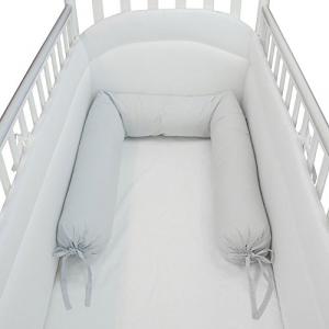 Babysanity - NUOVA COLLEZIONE Riduttore paracolpi cilindro per lettino SFODERABILE cm 190 x 15 cm MISURA XL + lacci colore grigio