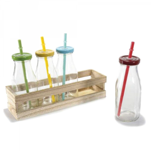 Set 4 barattoli in vetro con cannuccia e vassoio in legno