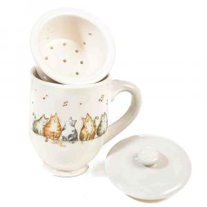 Tazza tisaniera con gatti in ceramica con filtro