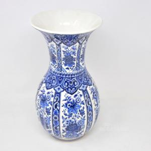 Vaso Bianco Ceramica Con Disegno Blu Foglie E Fiori