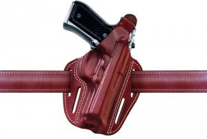 Fondina in cuoio semiascellare 4 fori per Glock 17-22 NERO