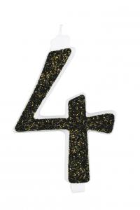 Candeline glitter nera 15 cm
