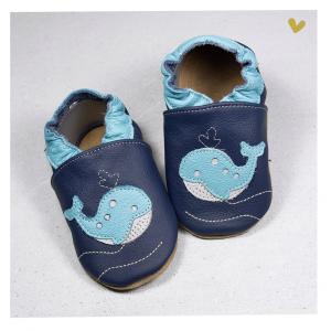 Babice - Babbucce in vera pelle - Balena blu - 24/25