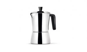 GIANNINI CAFFETTIERA TUA 3/6  TAZZE IN ACCIAIO MANICO E POMOLO NERI 6518
