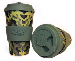 QUY cup MUG CON COPERCHIO CAMOUFLAGE DIMENSIONI CM. 8,5 x 7 x 14 ALTEZZA BAMB40-039
