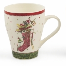 VILLA D'ESTE MUG IN PORCELLANA BONE CHINA LINEA SNOW DECORO CALZA DI NATALE DIAMETRO CM. 9 ALTEZZA CM. 11 CAPACITA' ML. 384 2417673
