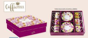 EASY LIFE SERVIZIO CAFFE' SET 6 TAZZINE CON PIATTINO LINEA FLOWER POWER YELLOW R0126#POWY