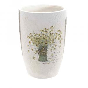 Vaso alto in ceramica bianca con decoro floreale