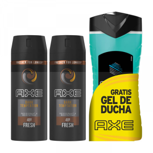 Axe Dark Temptation Deodorante Spray 2x150ml + Gel Doccia Ice Chill 250ml