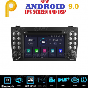 ANDROID 9.0 GPS DVD WI-FI Bluetooth Mirror-Link autoradio 2 DIN navigatore compatibile con Mercedes Benz Classe SLK R171, Mercedes W171