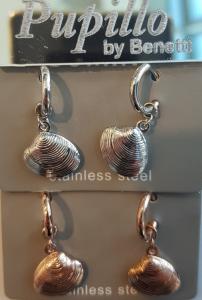 orecchino acciaio cerchietto conchiglia