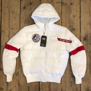Bomber Alpha Industries Hooded puffer FD Nasa Bianco