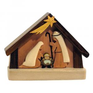 Piccolo presepe capanna e personaggi in legno
