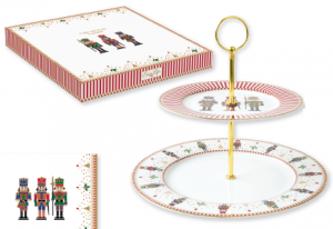 EASY LIFE ALZATA/PIATTO TORTA A 2 PIANI IN PORCELLANA IN SCATOLA REGALO LINEA NUTCRACKER R1105#NUTC