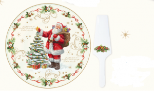 EASY LIFE PIATTO TORTA CON PALETTA IN PORCELLANA DIAMETRO CM. 32 LINEA MAGIC CHRISTMAS R1112 #MAGI