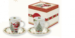 EASY LIFE SET 2 TAZZINE DA CAFFE' CON PIATTINO IN PORCELLANA IN SCATOLA REGALO LINEA MAGIC CHRISTMAS R1460#MAGI
