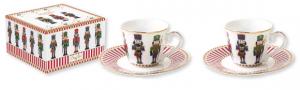 SET 2 TAZZINE DA CAFFE' CON PIATTINO IN PORCELLANA IN SCATOLA REGALO LINEA NUTCRACKER 1107 NUTC