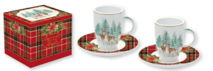 EASY LIFE SET 2 TAZZINE DA CAFFE' CON PIATTINO IN PORCELLANA IN SCATOLA REGALO LINEA WINTER FOREST R1460 WIFO