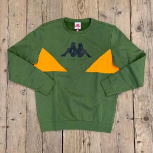 Felpa Kappa 90 BRUM Girocollo Verde e Arancio