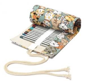 Porta Matite colorate in stoffa  con disegnati tanti gatti (36 pastelli)