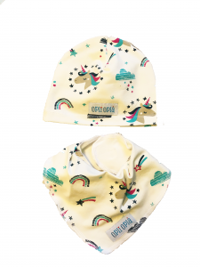 Unicorni bianchi cappello + bavetta baby