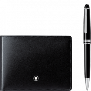 Set con penna a sfera Meisterstück Platinum Classique e portafoglio Meisterstück 6 scomparti