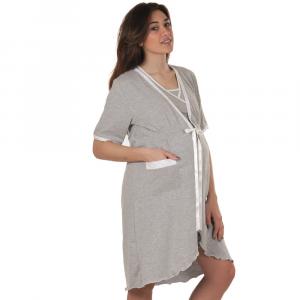 Vestaglia maniche corte grigio bordi bianchi