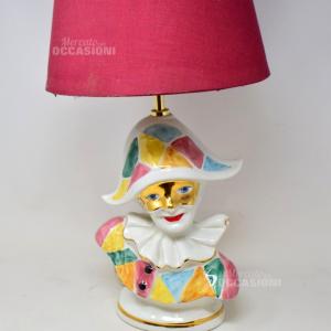 Lampada Con Arlecchino In Ceramica