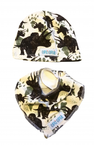 Dinosauro marrone cappello + bavetta baby
