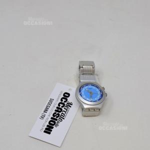 Orologio Alluminio Sfondo Azzurro Con Maglia