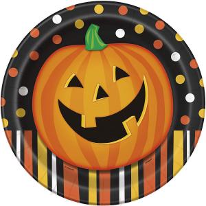 Piatti in cartoncino Halloween Zucca Sorridente