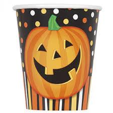 Bicchieri in carta Halloween zucca sorridente