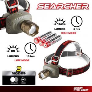 Dekton torcia da testa a led searcher 160 lumen batterie incluse 4 regolazioni