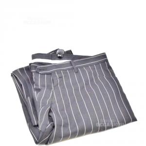 Pantalone Uomo Dolce E Gabbana Nero Righe Bianche Tg.48