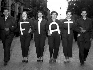 Fiat workers in procession, 1952