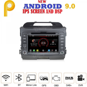 ANDROID 9.0 GPS DVD USB SD WI-FI Bluetooth Mirrorlink autoradio 2 DIN navigatore per Kia Sportage 2010-2015
