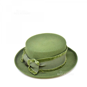 Cappello Verde Bombetta Di Lana Made In Italy