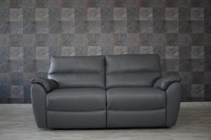 Divano relax elettrico in pelle grigio scuro a 3 posti con meccanismi recliner