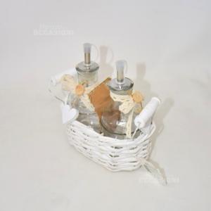 Cestino Oliera In Vimini Bianco
