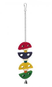 Gioco pendente in legno colorato per pappagalli e cacatua