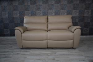 Divano relax elettrico in pelle nicciola - cammello a 3 posti con meccanismi recliner